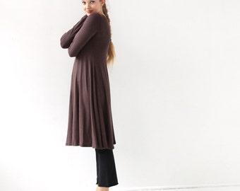 Womens Casual A Line Dress | Brown Dress Brown Casual Dress | Midi Dress Long  Sleeve | Knee Length Long Sleeve Dress |