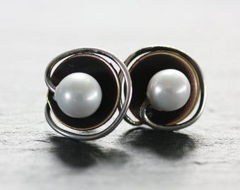 Ear stud with freshwater pearl , cupper and silver,pearl ear stud, ear stud , rustic ear stud,copper ear stud,