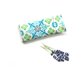 Lavender eye pillow mask, relax meditation yoga eye mask, gift for Mothers day, lime turquoise modern print soft flannel pillow