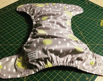 April showers ,   one size pocket diaper AWJ lined, organic bamboo insert