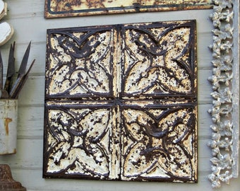 Ceiling Tin Tile. FRAMED antique tin 2'x2'.  Architectural salvage. Metal wall art tile. Rusty metal tile. Rustic farmhouse cabin decor.