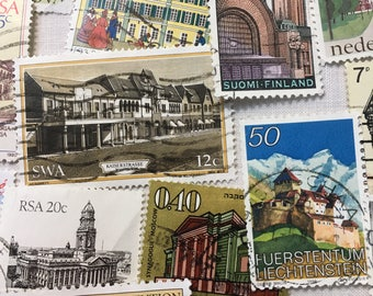 Postage Stamps, Architecture, Vintage Stamps, Buildings, Stamps, Used Stamps.