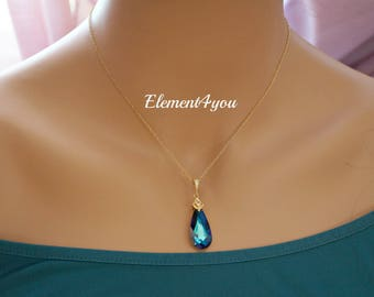 Swarovski Bermuda Blue Crystal Necklace Dark Teal blue Something Blue Peacock Jewelry Teardrop Pendant Bridesmaid Gift 14k gold filled chain