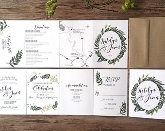 natural greenery accordion fold all in one wedding invitation suite ferns foliage - All In One Wedding Invitations