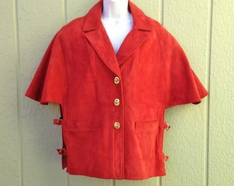 Red Suede Cape, 1960s - 1970s Boho Jacket, NWT, Vintage