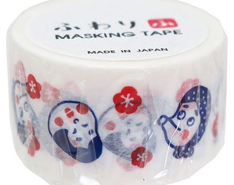 New-Japanese Washi Masking Tape - Japanese Okame & Plum Flower 25mm wide for journaling, packaging, party deco, crafting
