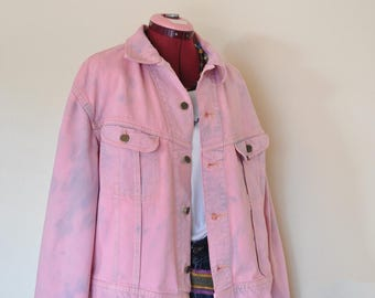 Pink Mens XL 50R Denim JACKET - Pastel Pink Dyed Upcycled Distressed Lee Denim 80s Trucker Jacket - Adult Mens Sz XL Extra Large (52 chest)