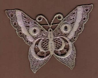 Hand Dyed Venise Lace Applique Butterfly  Aged Lavender Violet Haze
