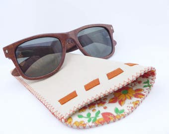 Leather Sunglass Case / Beige and Orange Leather and Vintage Lining / Eyeglass Leather Case