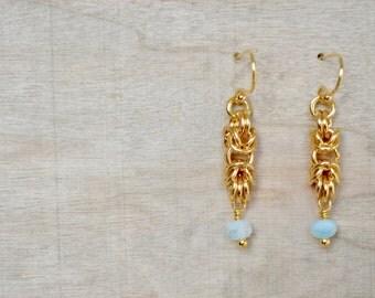 Chainmaille Byzantine Earrings - Beaded Earrings -  Gold Dangle Earrings - Organic Design - By BALOOS