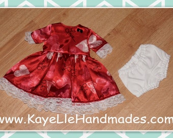 18 inch Fashion Doll Clothes - Dress and Panties - Satin Valentine with Lace Trim