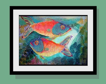 Two Fish with Light  Art Print - Beach Decor Limited Edition 10 x 14 - Picses - Wall Art- Original Acrylic Painting