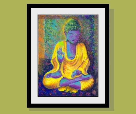 Purple Buddha Art Print Buddha painting Buddha in