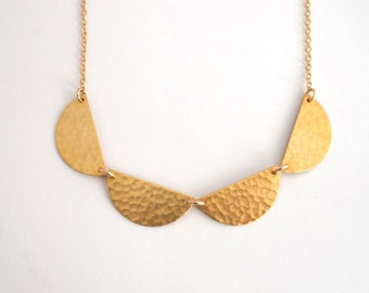 Brass Statement Necklace, Gold Geometric Necklace, Gold Collar Necklace, Gold Statement Necklace, Scallop Necklace, Gold Choker