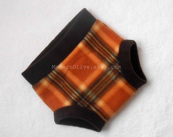 Large Turkey Plaid Soaker Fleece Diaper Cover/Cloth Pullup/Training Pant, Brown Orange Black, Ready to Ship