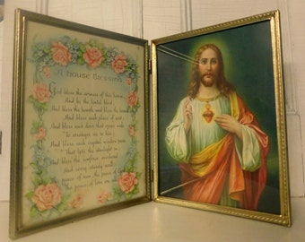Religious Image House Blessing Framed Prayer and Sacred Heart Catholic Prayer