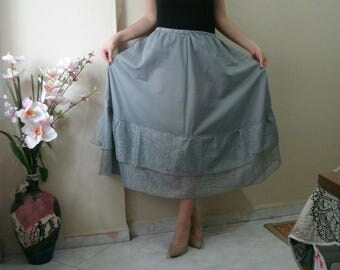 Long ruffle skirt extender,  slip underwear Grey long skirt extender slip wedding dress underskirt