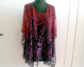 Sheer Capelet Burgundy Red Lace Wedding Cover up, Lace top Ponchos,  boho cape poncho,  wedding wraps