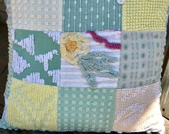 Green Yellow Vintage Chenille Patchwork Pillow Handmade Doodaba Nursery Lake Patio Baby
