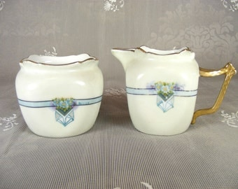 Vintage White Bavarian China Creamer and Sugar Set Blue and Purple Floral Design and Gold Detailing