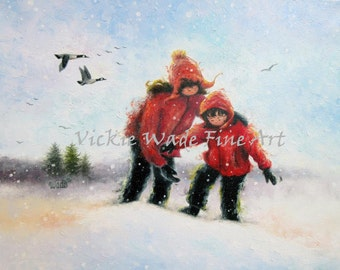 Two Sisters Snow Art Print, sister art, sister and brother snow painting, snow children, sister gift, red coats, Vickie Wade Paintings