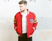 San Francisko 49er NFL Varsity Sports Jacket . Letterman Coat Vintage 70s Men's Bomber Jacket Red Wool Insulated Jacket 1970s . size Large L