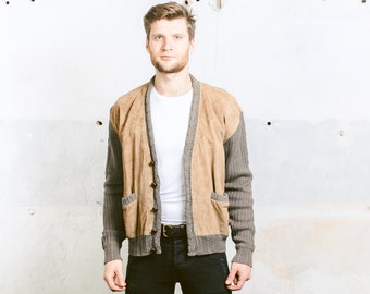Men Knit CARDIGAN Sweater . Suede Leather Jacket ROCKABILLY 90s does 50s PREPPY Retro Brown Khaki Slim Fit Boyfriend Man Gift . sz Medium