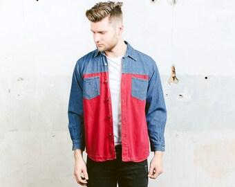 Colourblock Denim Shirt . Mens Vintage 90s Panel Shirt Button Down Blue Red Long Sleeve Skater Shirt . size Small S