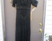 20s  Old Hollywood Black  flowers see through lace   Dress Great Gatsby Roaring 20's lounger/ dress