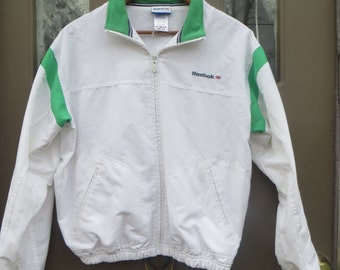 vintage  Reebok   2 tone green and white  Windbreaker Jacket Vintage   Tracksuit Jacket Retro Windbreaker  med
