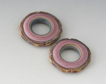 Rustic Square Discs - (2) Handmade Lampwork Beads - Lavender