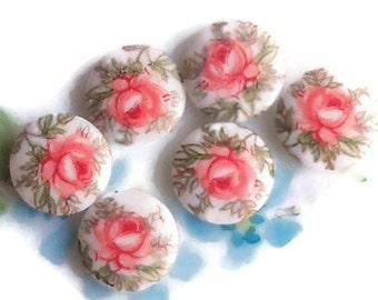 Vintage rose Cabochons,Limoges Cabochons,10mm cabochons,Roses Japan 10mm Rose Pink Shabby chic Cottage Round #869E