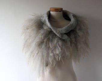 Alpaca Fur collar Curly Felted collar Grey felt collar  Alpaca wool collar  Fur scarf  Pure Wool Fleece real fur scarf