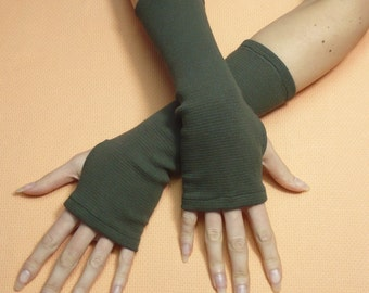 Classic Jersey Armwarmers in Military Green, Fingerless Gloves, Dance, Streetwear, Women Sleeves with Thumb Holes, Funky, Spring