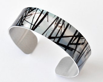 Reeds - Aluminum THIN Cuff Bracelet - Photography - Handmade - Unique Gift - Stackable - Band Bracelet - Wearable Art!