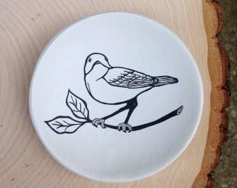 Ring Dish, Bird Jewelry Dish, Polymer Clay Dish, Trinket Dish, Bird Illustration, Birthday Gift, Mom Gift Mom, Wedding Gift