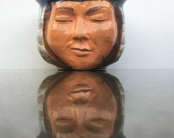 Face pot planter head sculpture vessel bowl, meditation smile art pottery