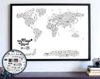 Video Game Decor, World Map, Video Game Poster, Boyfriend Gift, Video Game Gifts, Nintendo, Gift for Him, Map Poster, Video Game Controllers