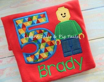 Legoman Birthday Shirt - Boys or Girls Lego Birthday Shirt