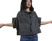 Reserved List For Aileen - Patched Dark Heather Grey Brushed Cotton Mix Polyester Stand Collar Drop Shoulder Cape Poncho Cloak Vest Blouse