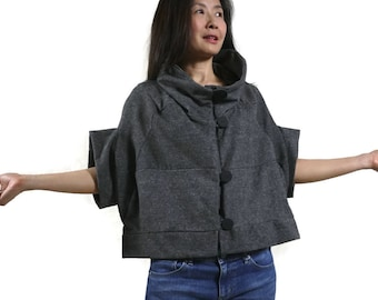Patched Dark Heather Gray Brushed Cotton Mix Polyester Stand Collar Drop Shoulder Cape Poncho Cloak Batwing Vest Jacket Blouse