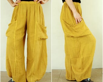 Take Me Home...Light Mustard Yellow Light Double Gauze Cotton Pants With 2 Roomy Patched Pockets