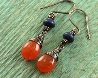 Carnelian Earrings, Lapis Earrings, Rustic Copper Sterling Silver Dangle Drop Earrings, Fall Fashion Autumn Orange Blue Jewelry Gift for Her