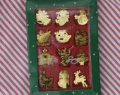 Box of 12 Miniature Brass Christmas Ornaments, Approximately 1 inch tall, Golden Holiday Decorations