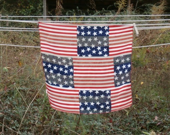 Vintage US Flag Themed Scarf, Square, Stars and Stripes, Red White and Blue