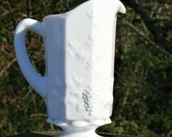 Westmoreland Paneled Grape Milk Glass Pitcher, Big Beautiful Vintage, Makes a Great Centerpiece Vase