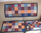 RESERVED Quilted Homespun Table Toppers Three Pieces  RESERVED