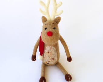 Needle felted reindeer figurine - light brown Rudolph deer with a red scarf, Christmas decor, felt doll
