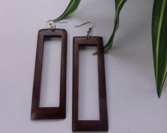 Elongated Rectangle Peek-A-Boo Wood Earrings in Coffee Wooden Earrings Brown Natural Stained Wood Hoops