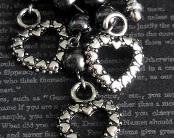 HEARTS Charm Necklace. Repurposed Brighton Chain. Genuine Hematite Beads. Perfect For Valentines Day Or Anniversary Gift
